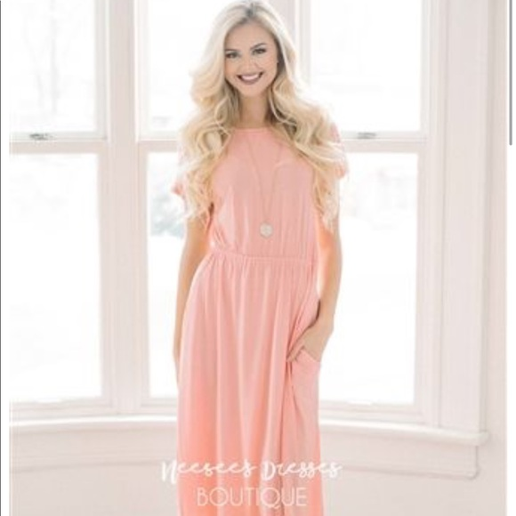 6a12838787bb Pinkblush Dresses | Modest Boutique Peachcoral Midi Dress | Poshmark